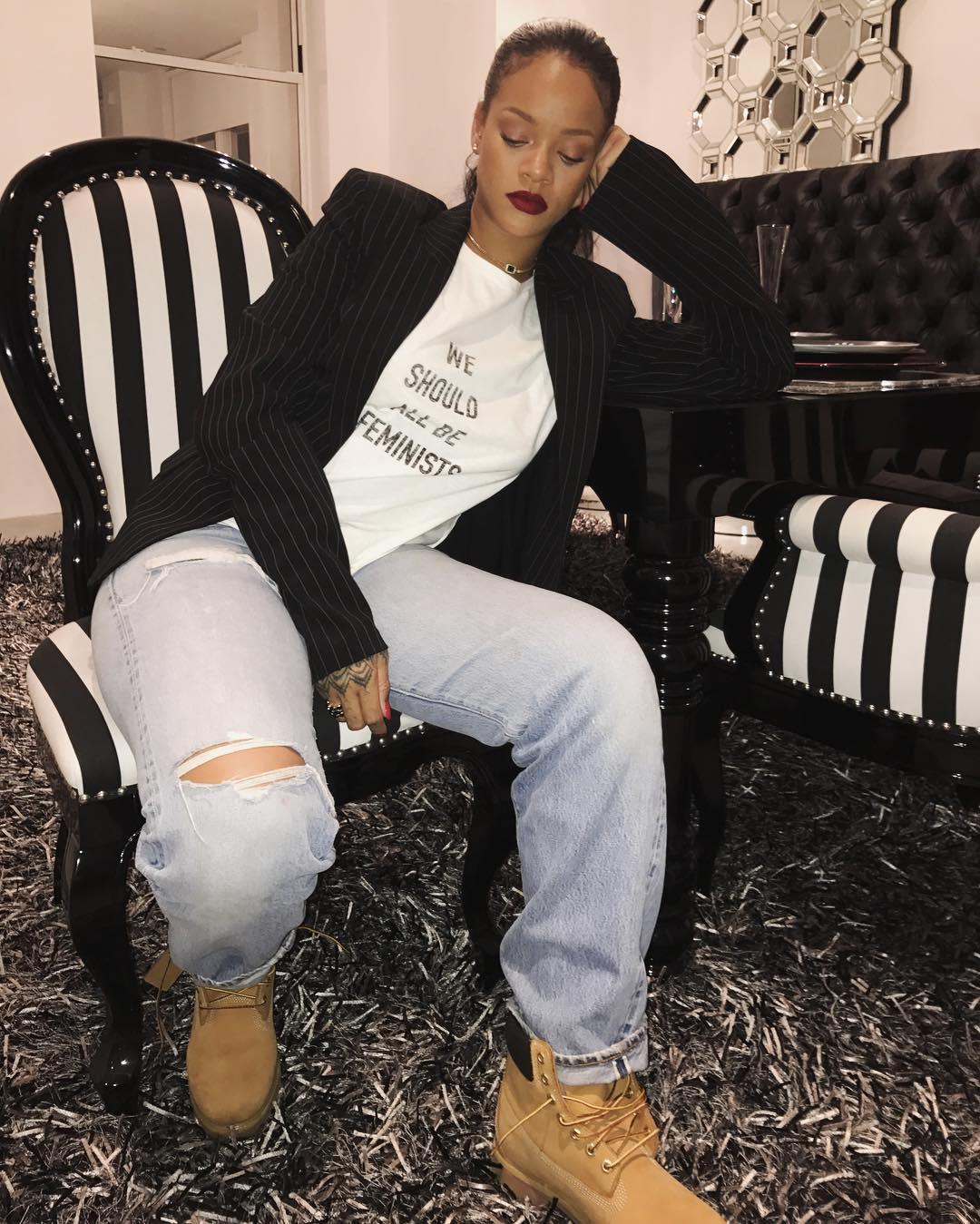 Rihanna wearing Dior's 'We Should All Be Feminists' t-shirt. Photo via Instagram @badgalriri