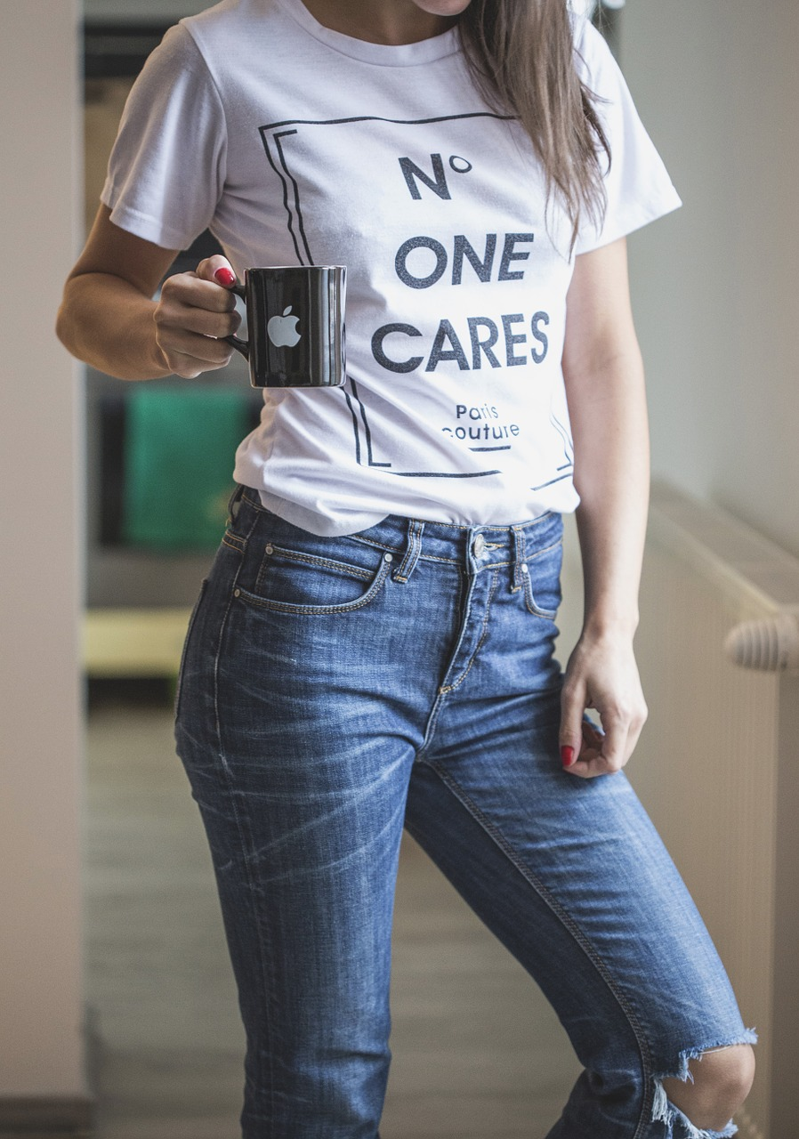T Shirt Tee White Blue Jeans Woman Model - no on cares slogan t shirts