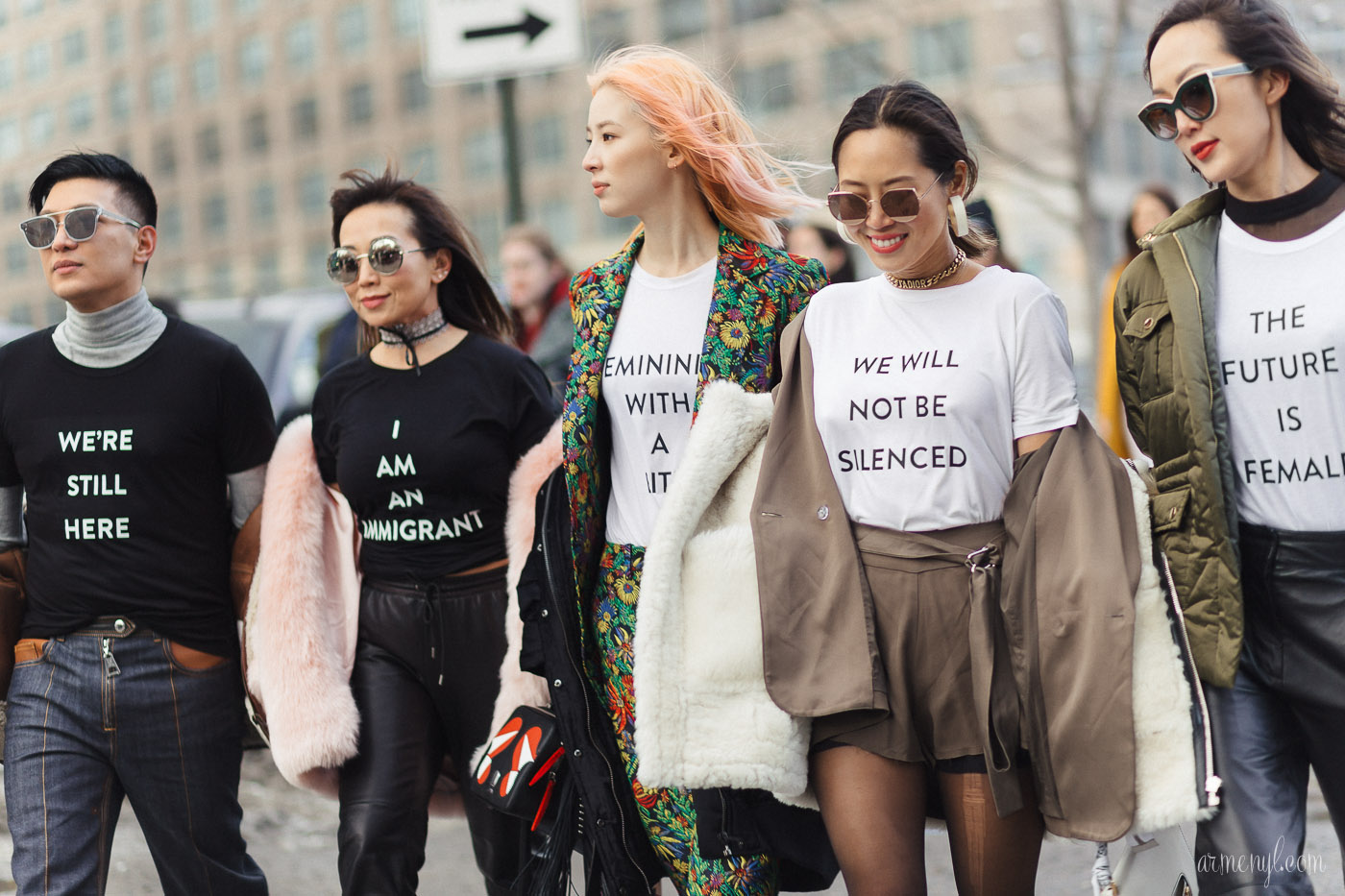 The Future is female T-shirts Women empowerment womens fashion in New York street style photography by Armenyl.com