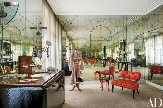 top interior designers - linda pintos parisian apartment photo via AD - mirrored walls