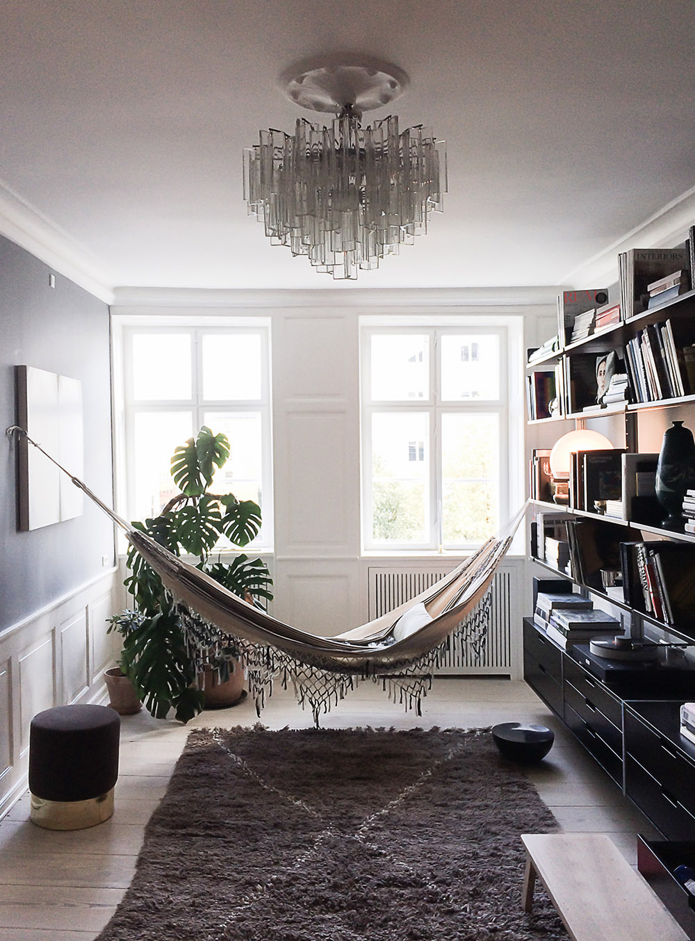 Woman Cave Design Ideas - The Apartment Gallery, Interior Design by Ilse Crawford, Photo by Daniella Witte - she shed - hammocks inside