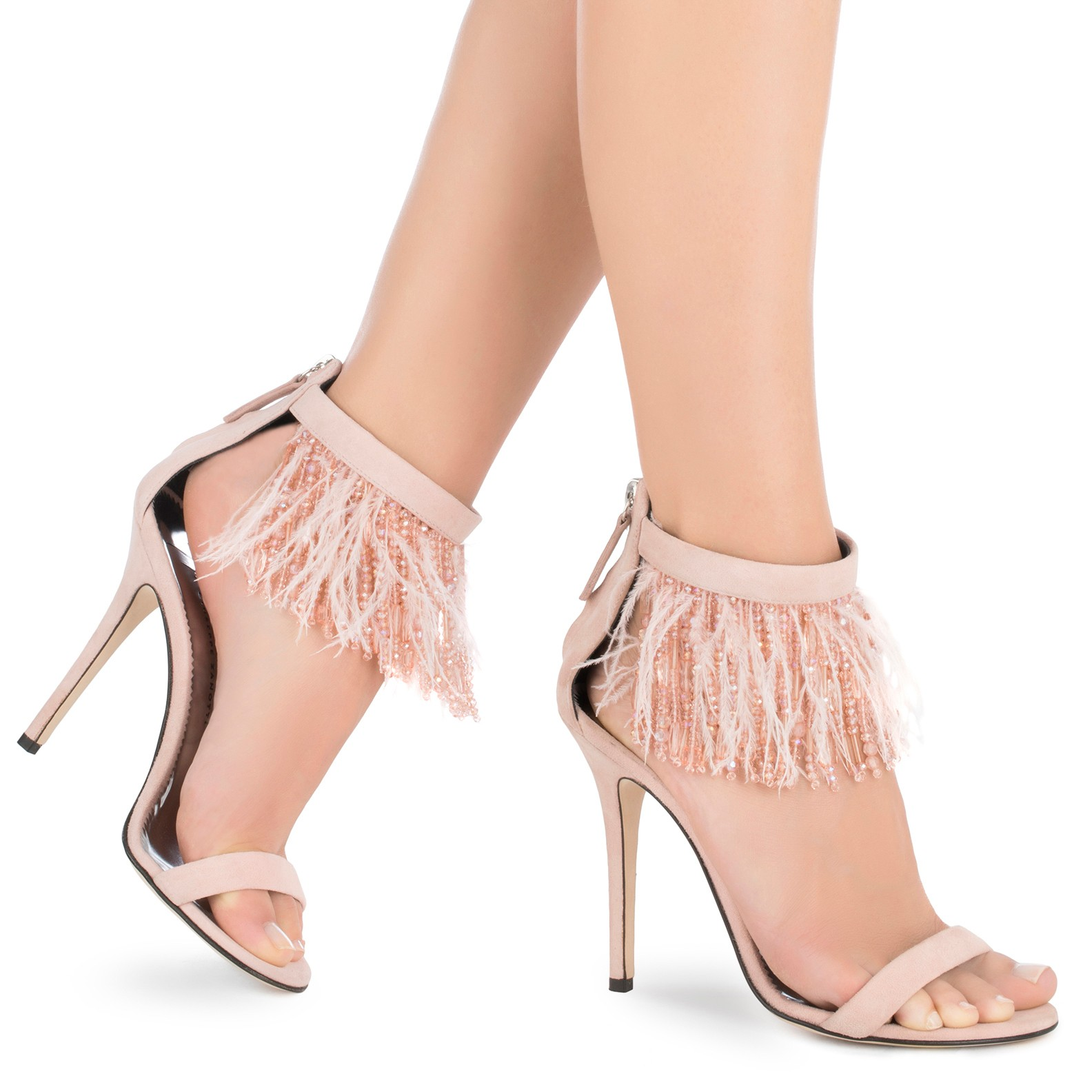 Giuseppe Zanotti - _Beau Rose Sandals - Feather and Bead Sandals - Italian Shoe Brands We Love - - made in italy - italian shoes - luxury shoes - famous italian shoe designers