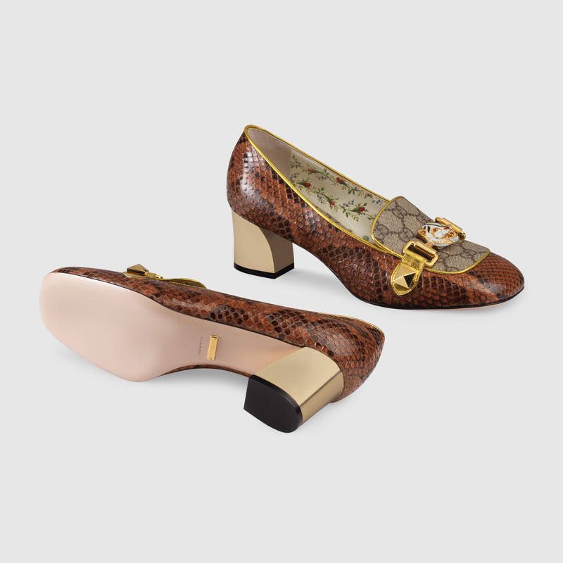 Gucci Women's Pumps - Python and GG Supreme mid-heel pump - Italian Shoe Brands We Love - made in italy - italian shoes - luxury shoes - famous italian shoe designers
