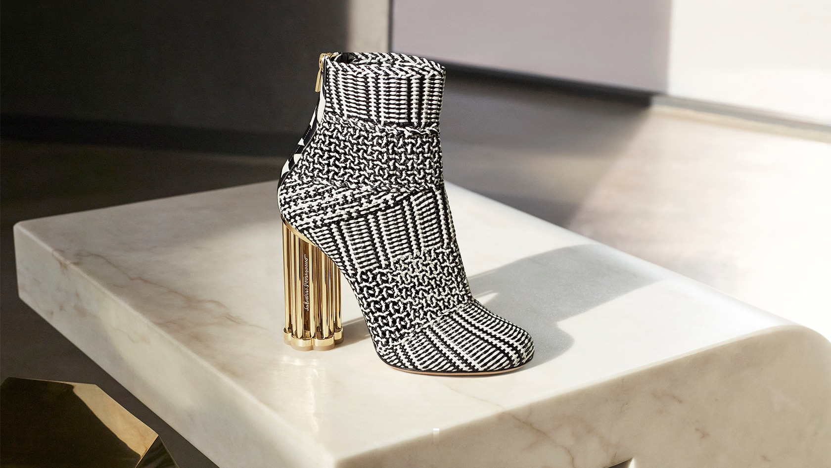 Salvatore Ferragamo - Graphic Woven Bootie with Cage Flower Heel - Italian Shoe Brands We Love - made in italy - italian shoes - luxury shoes - famous italian shoe designers - shoemaker to the stars - shoe art