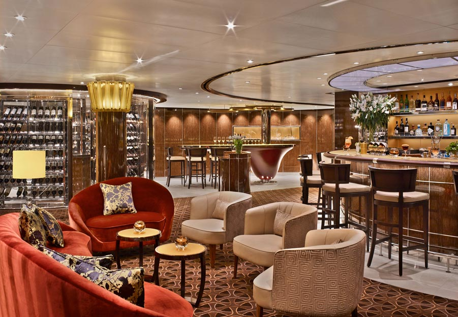 famous interior designers - Seabourn Encore Bar by Tihany Design, Photo by Eric Laignel - cruise ship interior designers