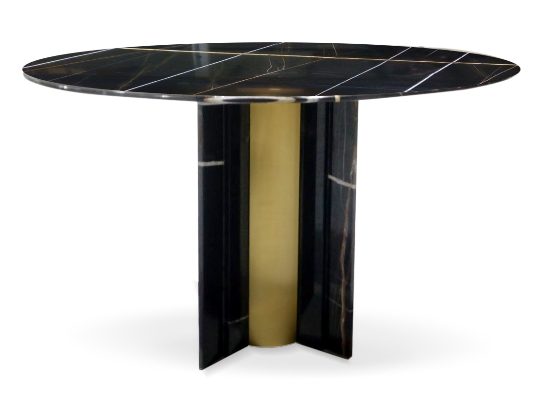 Paris Dining Table by KOKET - new koket pieces 2018 - high point furniture market 2018 - high point spring 2018 - isaloni 2018 - salone del mobile milano 2018 - round dining tables - luxury furniture - unique dining tables - black marble dining tables