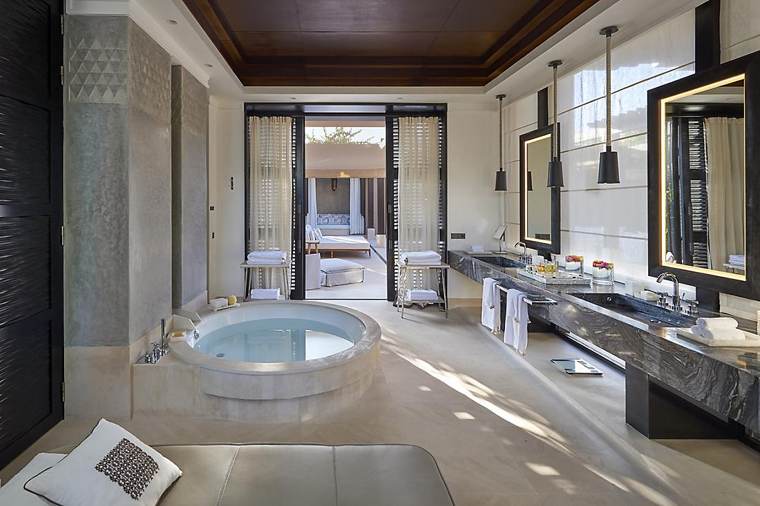 luxury seaside homes - luxury coastal homes - beachfront homes - in-home spas - residential spas - private spas - spa design ideas - marrakech villa mandarin oriental pool bathroom