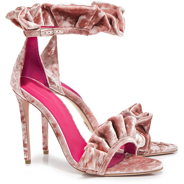 Oscar Tiye FW 17-18 Antoinette Sandal Pink Ciniglia - Italian Shoe Brands We Love - made in italy - italian shoes - luxury shoes - famous italian shoe designers - Amina Muaddi and Irina Curutz