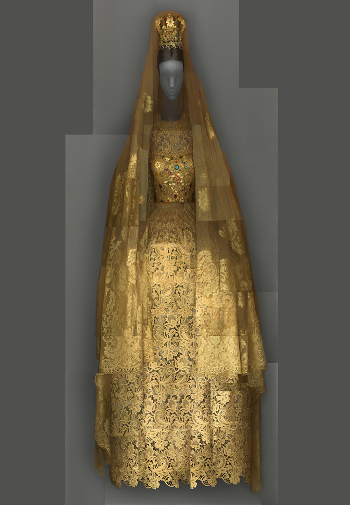 Exhibits in NYC - Heavenly Bodies - Domenico Dolce and Stefano Gabbana for Dolce & Gabbana. Wedding ensemble, spring/summer 2013 alta moda. Courtesy of Dolce & Gabbana. Digital composite scan by Katerina Jebb - fashion and religion - art exhibits - religious exhibits - metropolitan museum of art