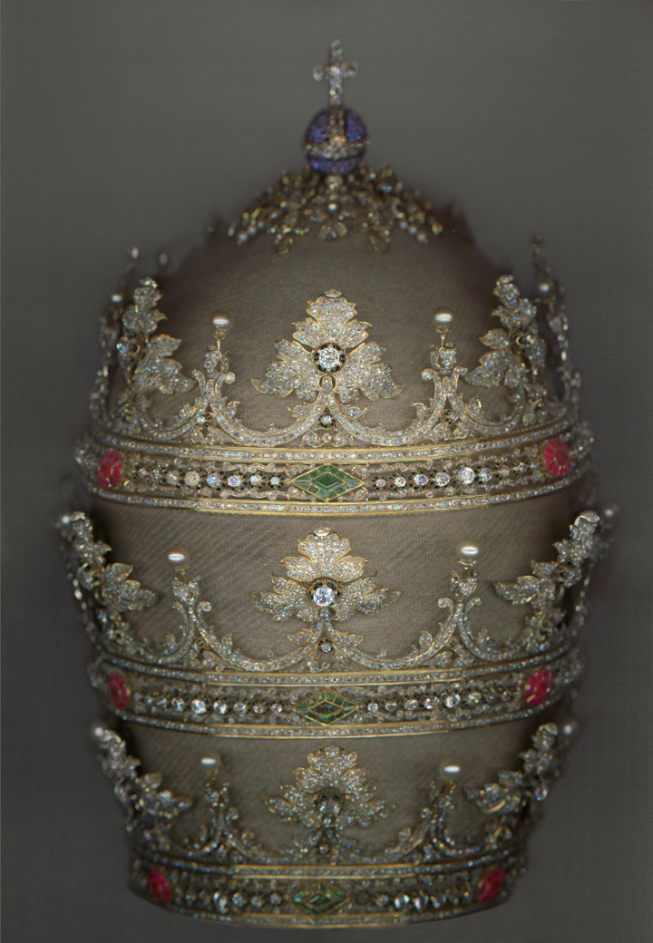 Exhibits in NYC - Heavenly Bodies - Tiara of Pius IX (r. 1846–78), 1854. German and Spanish. Courtesy of the Collection of the Office of Liturgical Celebrations of the Supreme Pontiff, Papal Sacristy, Vatican City. Digital composite scan by Katerina Jebb - fashion and religion - art exhibits - religious exhibits - metropolitan museum of art