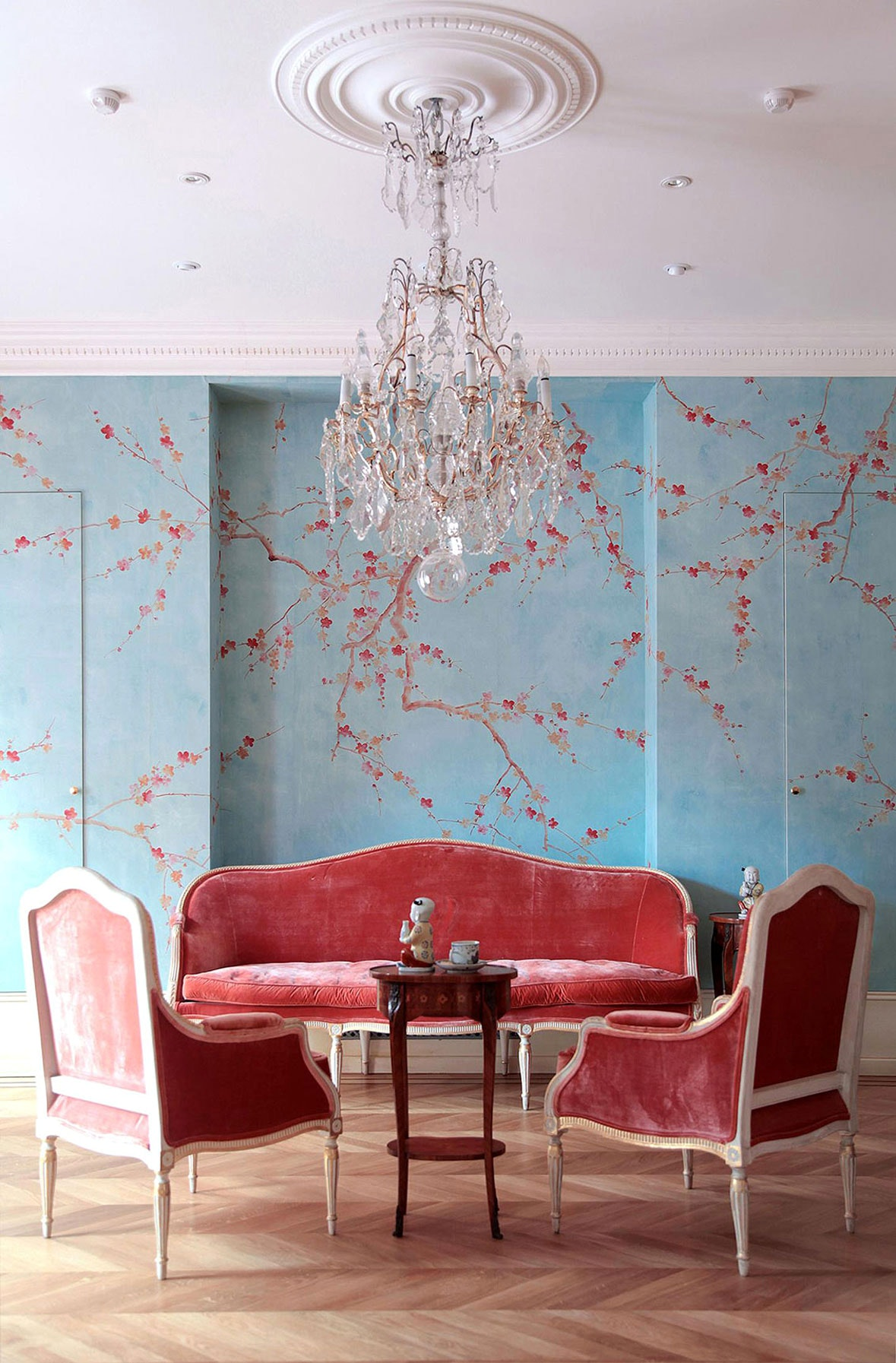 Cherryblossom Wallpaper by De gournay - Interior Design Trends 2018 - living room design ideas - feminine living rooms - wallpapers