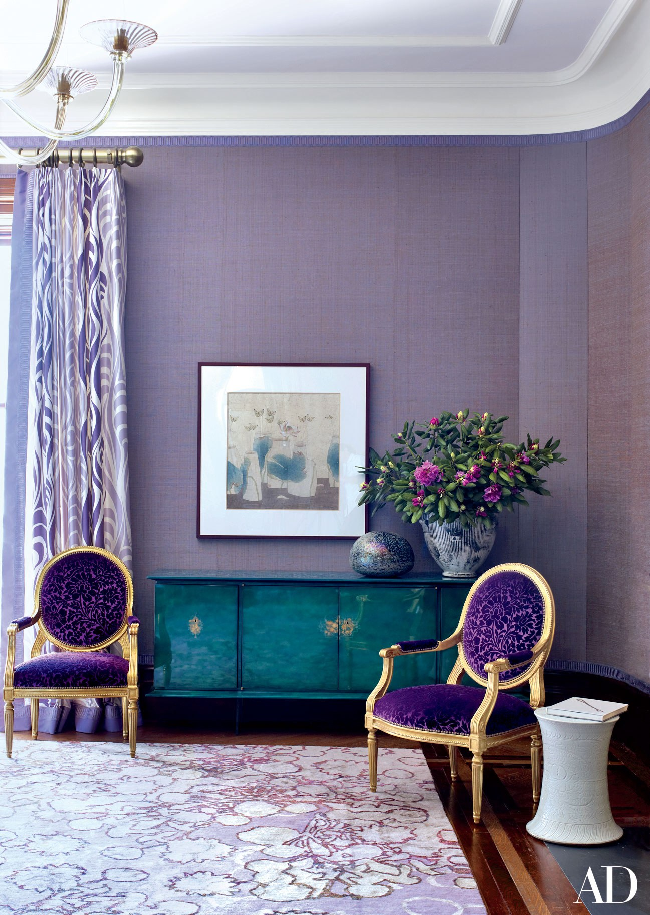 Interior Design Trends 2018 - Color of the Year 2018 - Jamie Drake - Drake Anderson - Photo by William Waldron via AD - decorating with ultra violet - home decor ideas color of the year - purple walls - purple decorating ideas