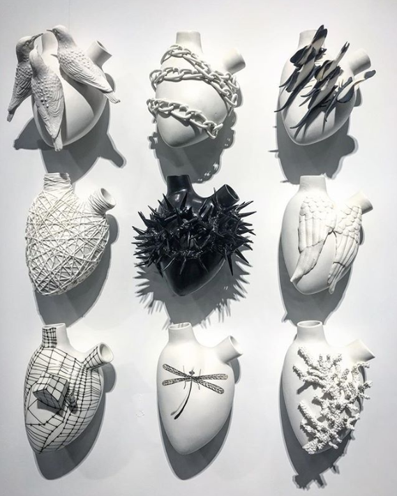 FOS Ceramiche at ICFF 2018 - Heart Art - porcelain accessories - made in italy - italian porcelain - Italian accessories - heart sculptures - heart wall art