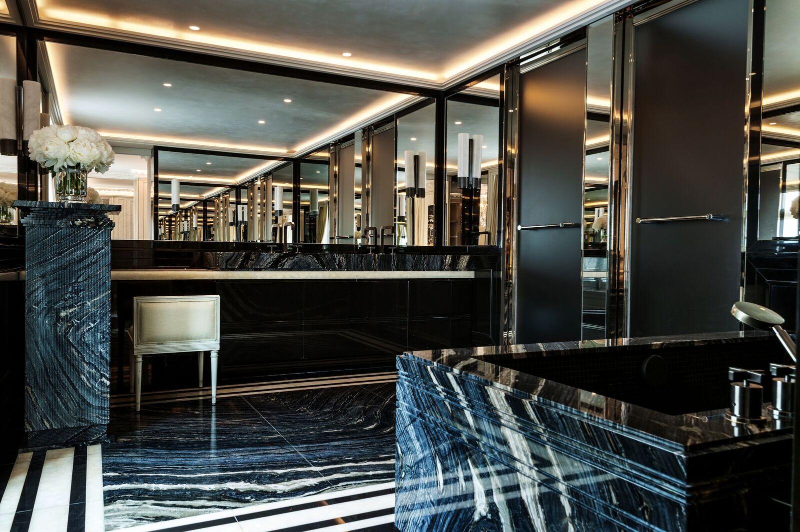 Hotel Crillon, Andy Haslam, natural stone bathrooms, luxury bathrooms, bathroom design