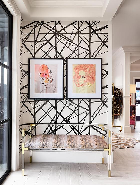 Jonathan Adler Bench - Image via Heather Scott Home - interior design trends 2018 - faces in home decor