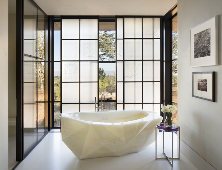 Kendall Wilkinson Interior Design - Dream Bathrooms - Onyx tubs - Ken Lindsteadt Architects - photo by Paul Dyer Photography - landscape design by Lutsko Associates - dream bathrooms - luxury bathrooms - shoji screens