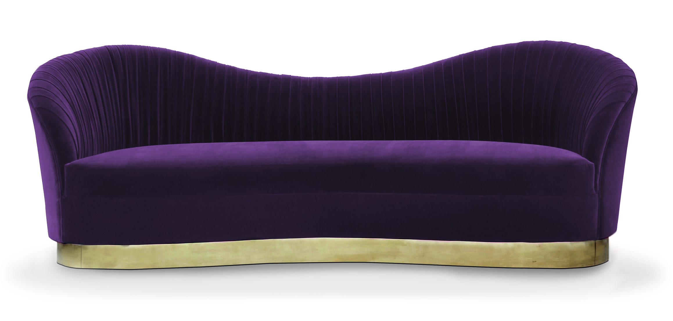 Interior Design Trends 2018 - Purple sofas - Color of the Year 2018 - Kelly Sofa by KOKET - curved sofas - ruched sofas - sofas with brass base - luxury furniture - sexy furniture