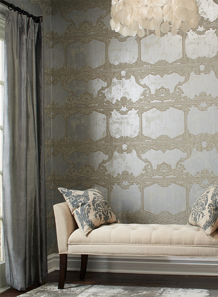 Ronald Redding Wallpaper by York - Silver Leaf Wallpaper - Interior Design Trends 2018 - metallic wallpapers - silver wallcoverings