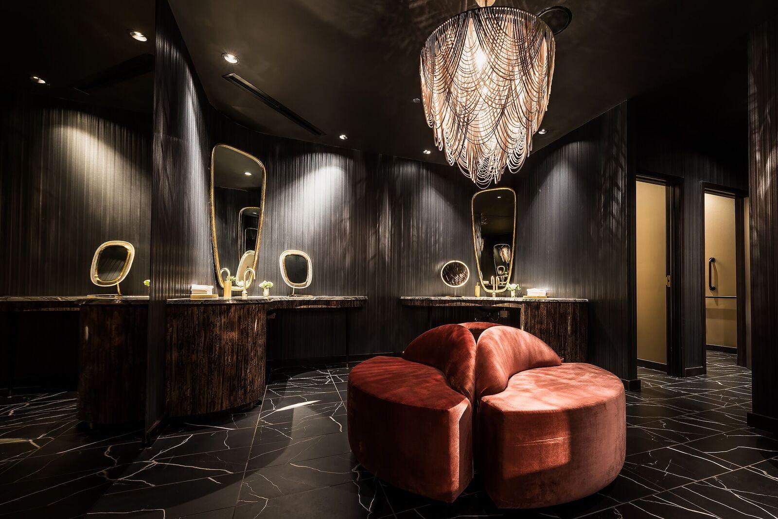 BLVD Chicago, studio k creative, natural stone bathrooms, luxury bathrooms, bathroom design, dream bathrooms, most beautiful restaurant restrooms, black marble floors, marble bathrooms
