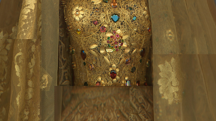 Exhibits in NYC - Heavenly Bodies - Domenico Dolce and Stefano Gabbana for Dolce & Gabbana. Wedding ensemble, spring/summer 2013 alta moda. Courtesy of Dolce & Gabbana. Digital composite scan by Katerina Jebb - metropolitan museum of art - art exhibits nyc - fashion and religion