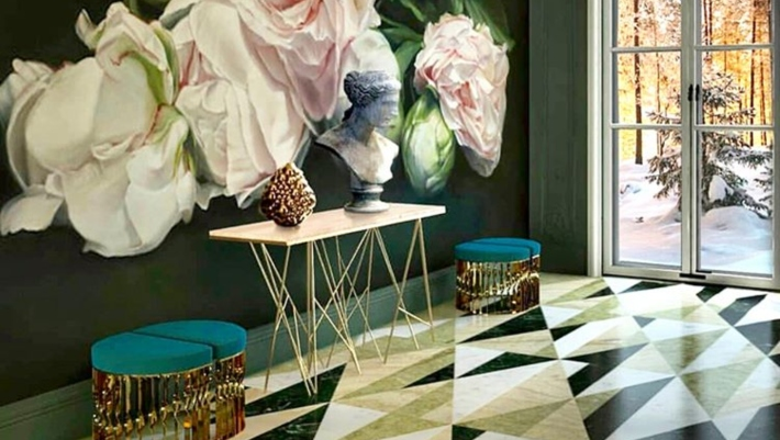 Interior Design Tips - foyer with Floral wallpaper, a geometric tiled floor, a metal console table and four demi-lune stools with teal upholstery and brass bases, mandy stools by koket