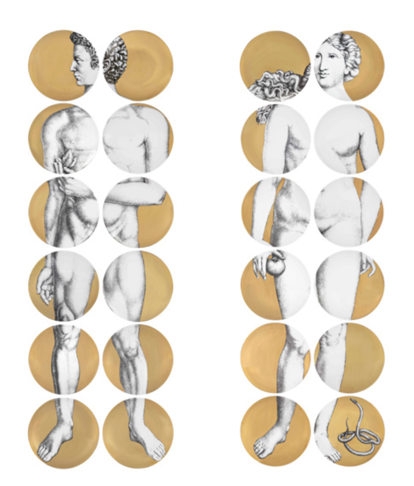 Iconic Designs, Iconic Design, Design Icons, Fornasetti, Piero Fornasetti, Adam and Eve Plates, Fornasetti Adam and Eve Plates