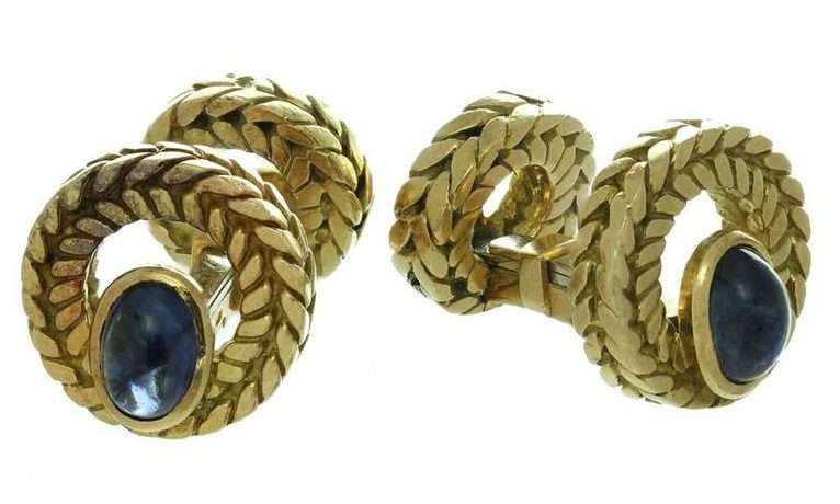 Father's Day Gifts - Gifts for Men - Gifts for Him - Gifts for Dads - Van Cleef & Arpels Cabochon Sapphire Gold Cufflinks