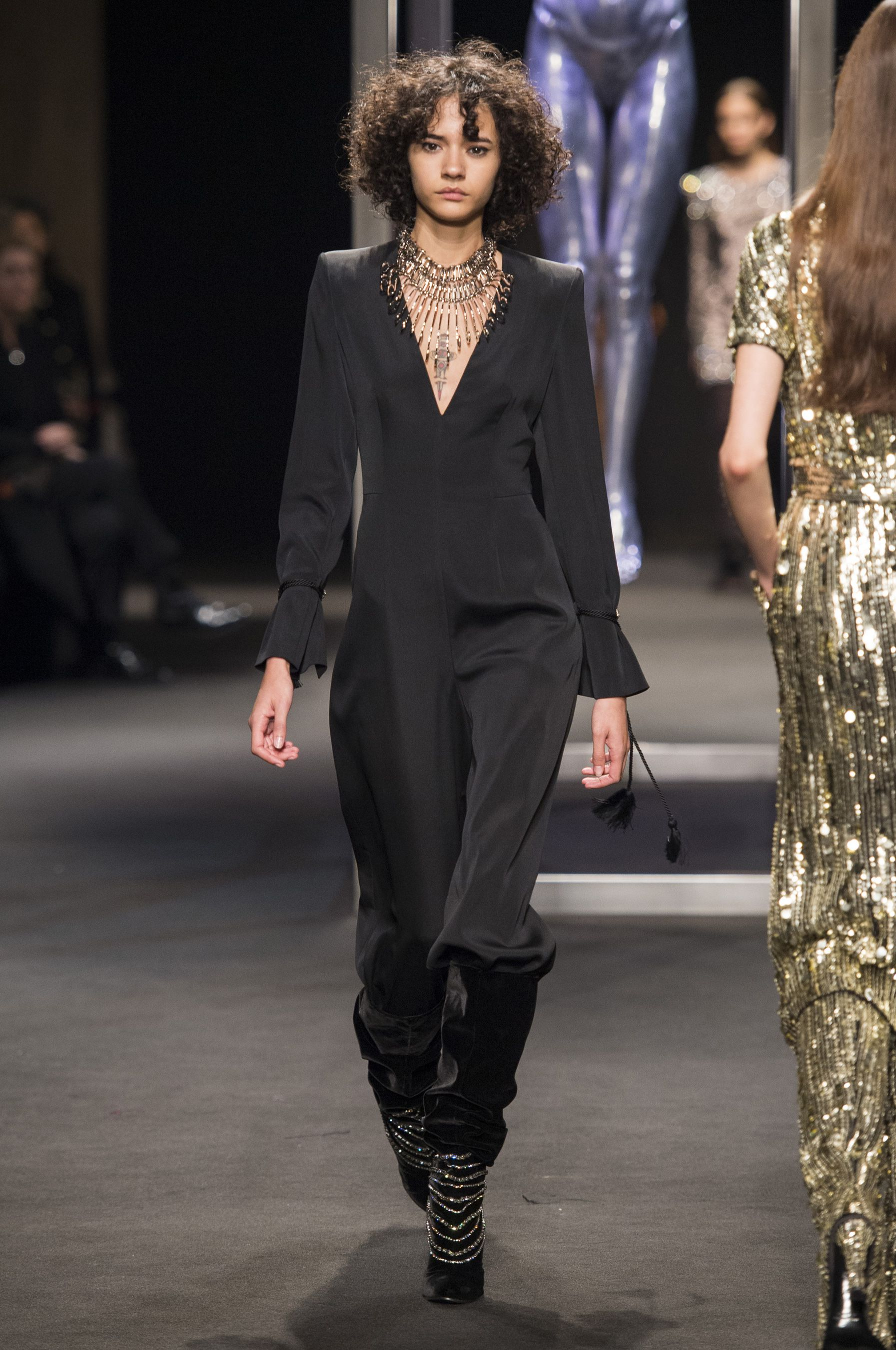 Alberta Ferretti Autumn Winter 2018 - How to Style a Jumpsuit - Source ImaxTree via Harper's Bazaar - how to style a romper - jumpsuits - accessorizing a jumpsuit - how to wear a jumpsuit - the perfect black jumpsuit