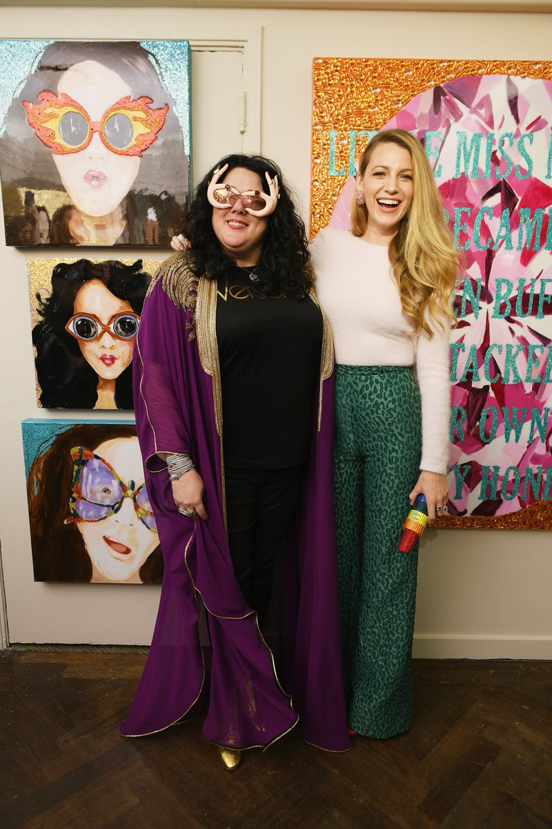 Ashley Longshore and Blake Lively at Bergdorf Goodman opening of the pop artist's exhibit via @blakelivelyf - pop artists - pop art - female pop artists - empowering female artists - women empowerment