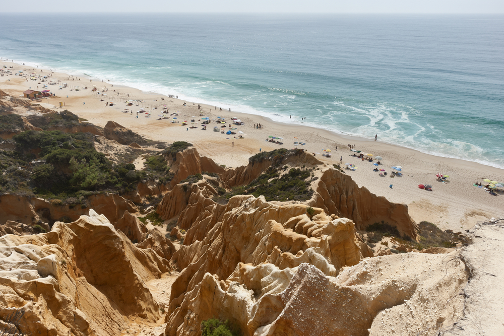 Comporta Coastline Sandstone Cliffs at Gale Beach - Design Lovers Guide to Portugal - Things to Do In Portugal for Architecture, Art & Design Lovers - most beautiful places in portugal - best beaches in portugal - most beautiful beaches in portugal