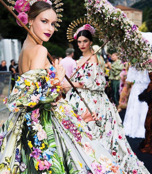 Dolce and Gabbana Alta Moda Fashion Show Lake Como July 2018 - haute couture - floral gowns - fairy tale couture fashion