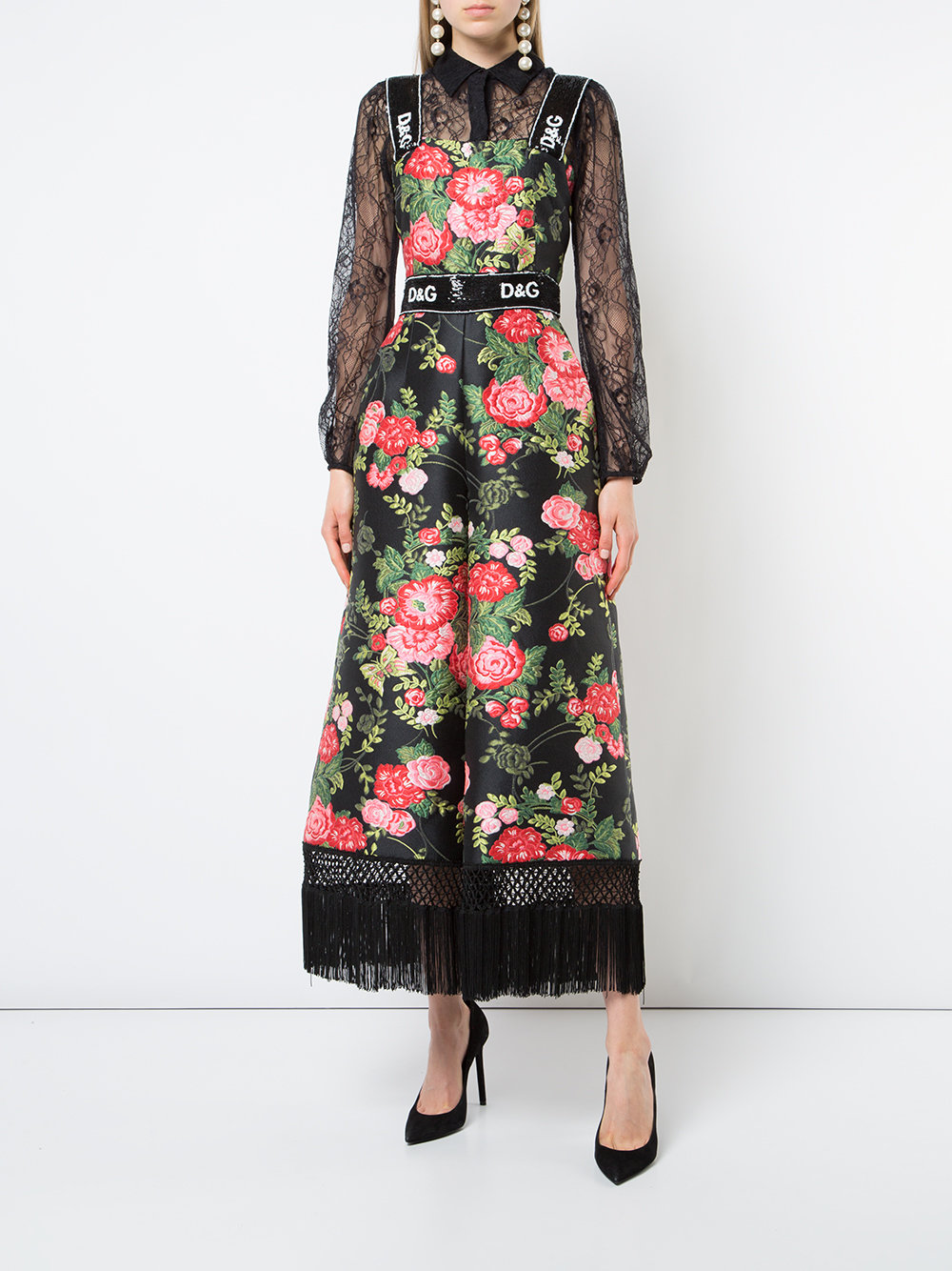 Dolce & Gabbana Tassel Rose Print Jumpsuit - How to Style a Jumpsuit - Source Farfetch