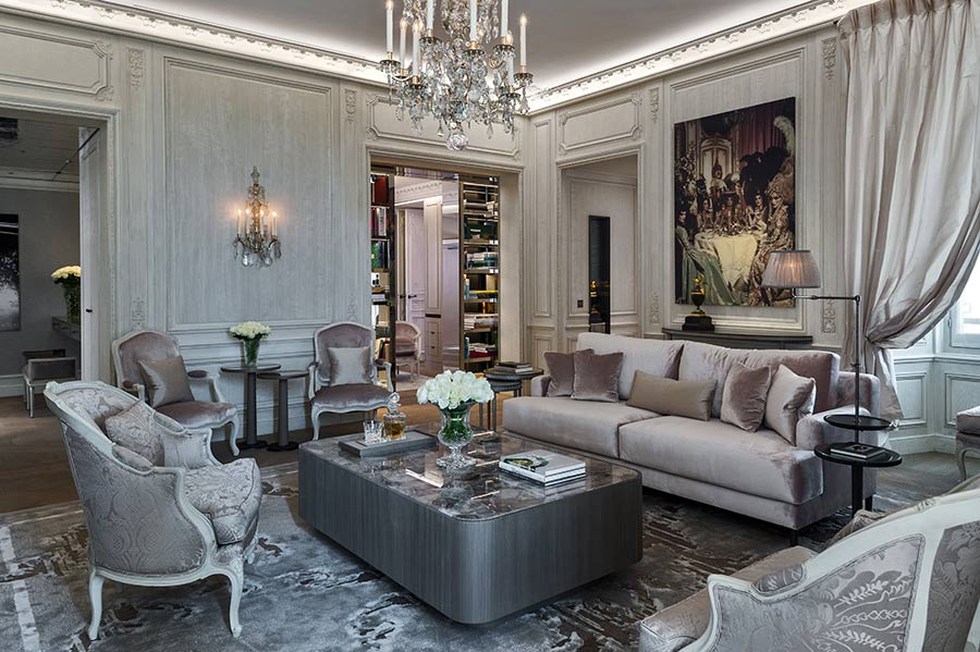 Grands Appartements Concorde living room by Karl Lagerfeld - Luxury hotels - fashion designer hotels - most luxurious suites in paris - luxurious hotel suites - fashion designer suites