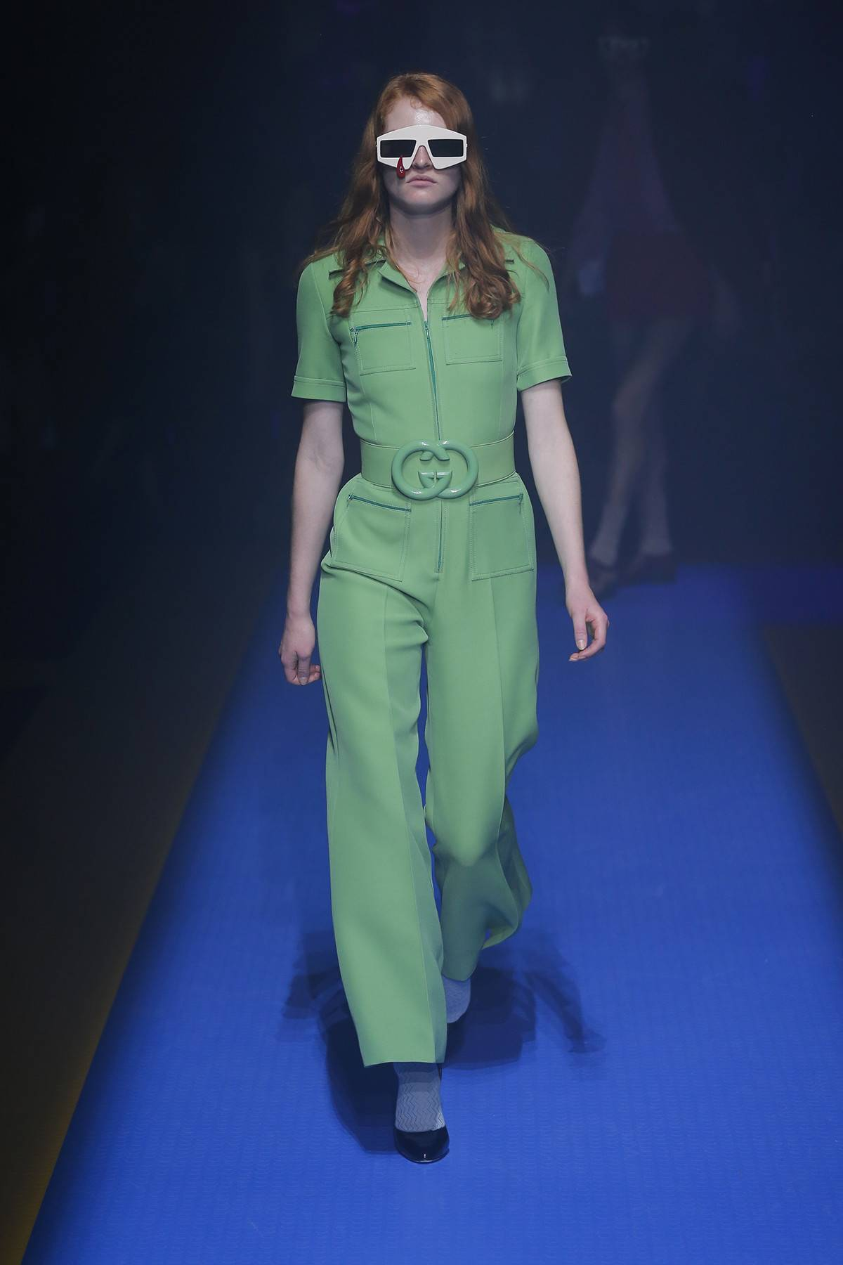 Gucci Spring Summer 2018 - How to Style a Jumpsuit - Source Gucci - gucci jumpsuits - solid colored jumpsuits - green jumpsuits