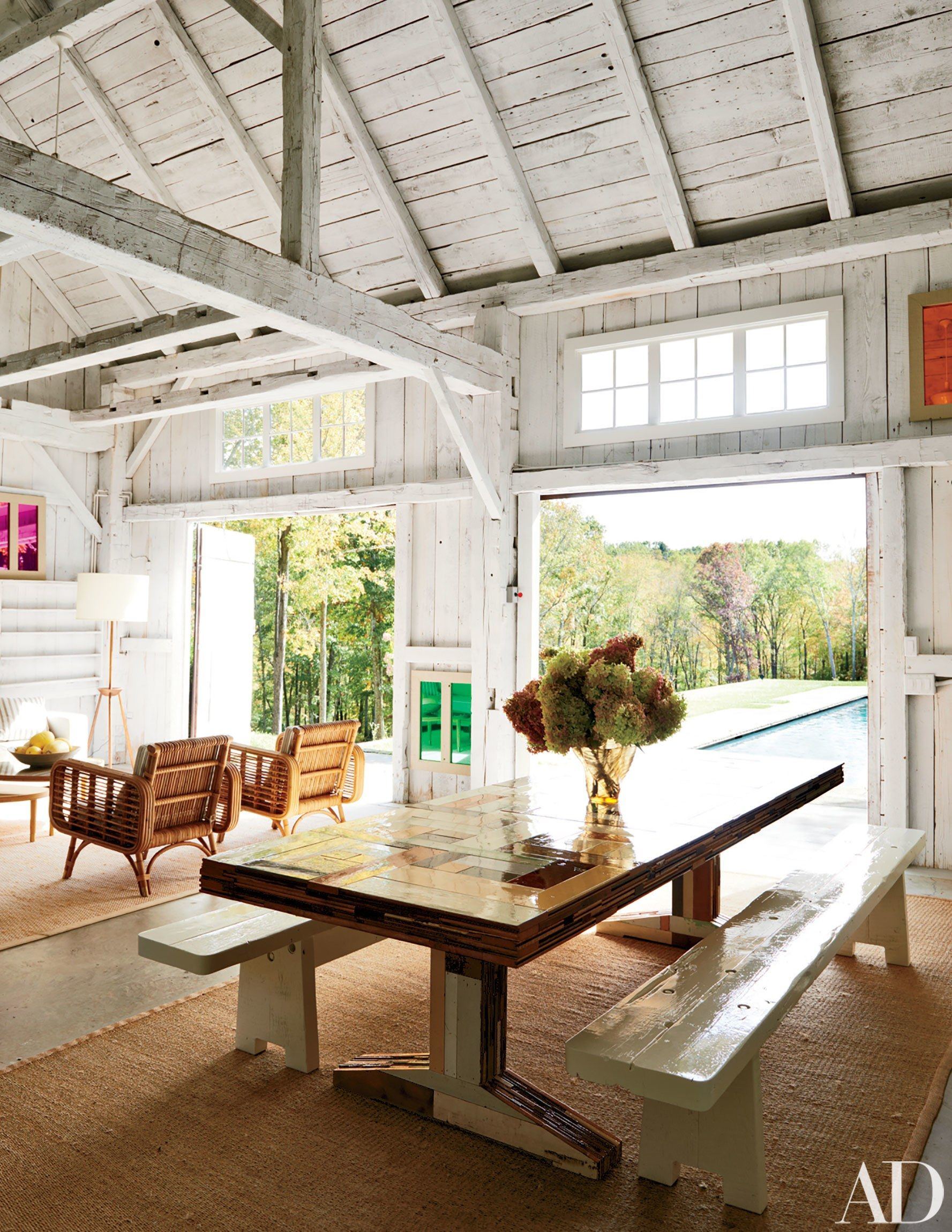 Pool house ideas - India Mahdavi Brings Her Signature Style to a Connecticut Country Home - Source Photo by Jason Schmidt via Architectural Digest - luxury pool houses - pool house designs - pool house interior ideas - rustic pool houses