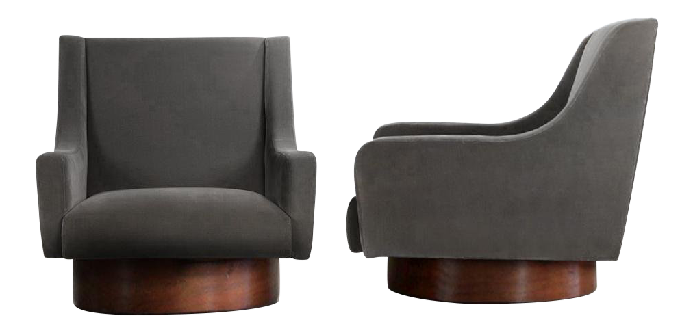 SWIVEL LOUNGE CHAIRS AFTER MILO BAUGHMAN - WALNUT AND CHARCOAL COTTON VELVET - A PAIR from dacaso vintage furniture reproductions - antique reproductions
