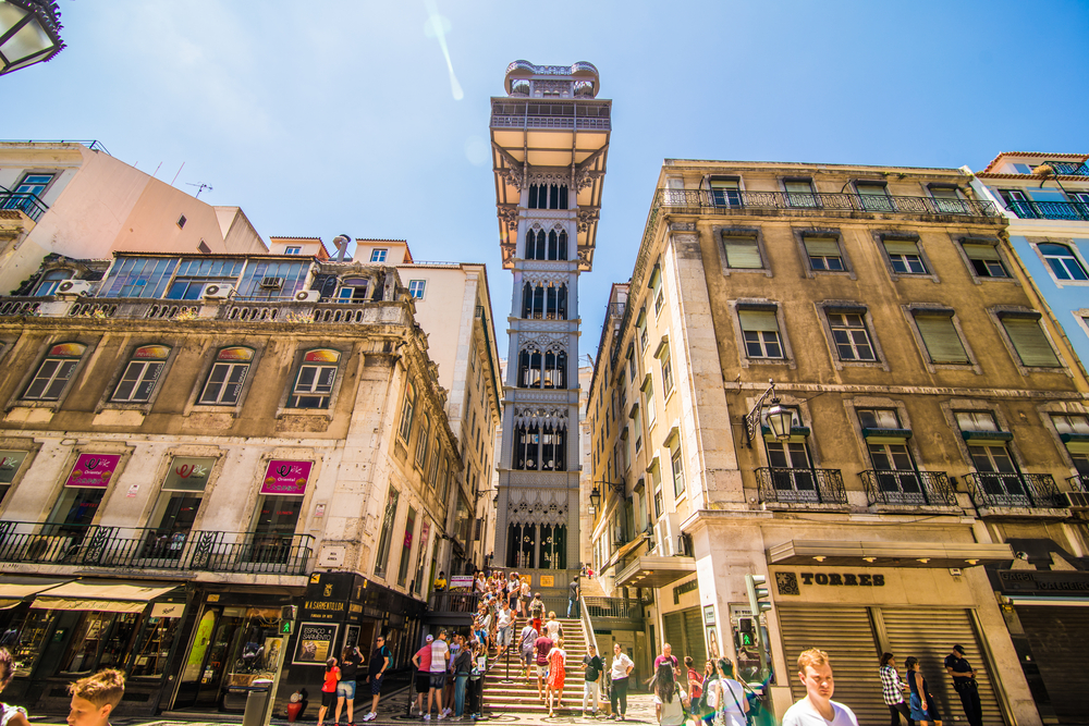 Santa Justa Lift - Design Lovers Guide to Portugal - Things to Do In Portugal for Architecture, Art & Design Lovers - things to do in lisbon - beautiful buildings in lisbon - architecture in lisbon - things to do in lisbon - lisbon elevator
