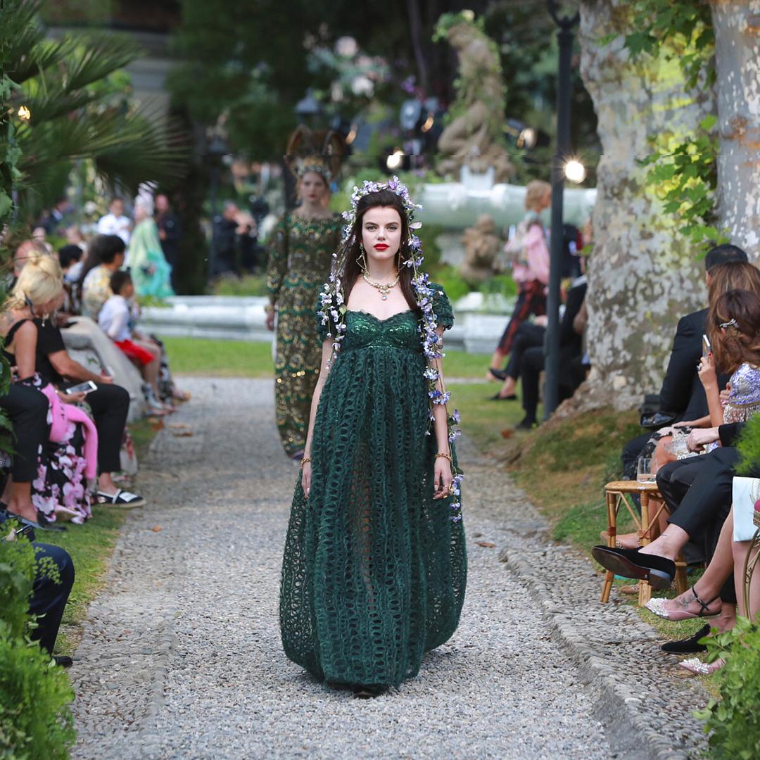 Sonia Ben Ammar, Frankie Herbert and Sabrina Percy walk for the Dolce and Gabbana Alta Moda Fashion Show at Lake Como, July 2018. - via @dolcegabbana