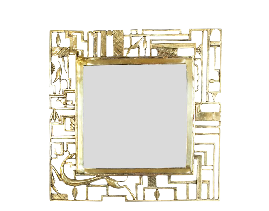 Attr. Karl Hagenauer Brass Wall Mirror, Austria, 1930 - vintage mirrors - vintage furniture - antique mirrors - antiques - antique furniture - square gold mirrors - gold sqaure mirrors