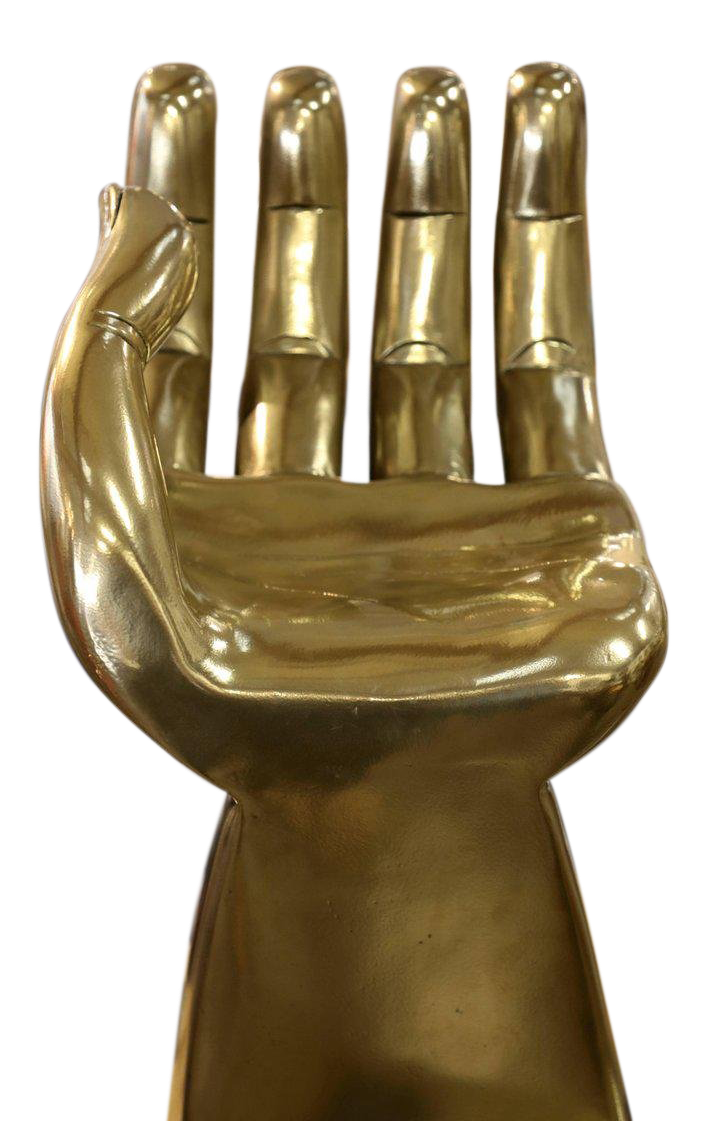 brass-clad-wood-sculpture-of-pedro-friedeberg-hand-chair-decaso - hand chairs - vintage furniture - vintage chairs - antiques - antique furniture - modernist furniture