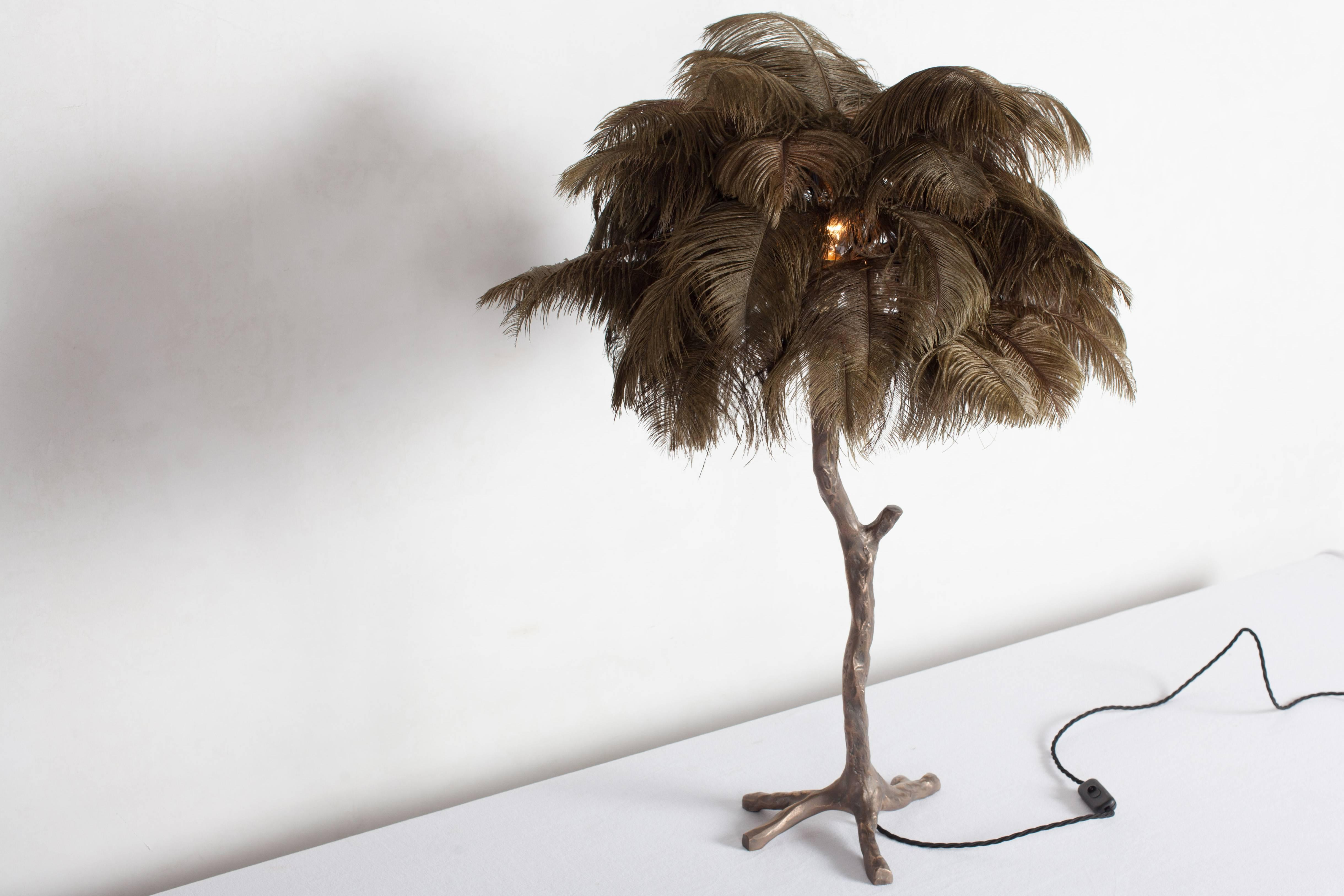 bronze and moss green feathered table lamp from decaso vintage lighting - feathered lamps - feather lamps - vintage furniture - vintage design - unique lighting - unique table lamps - bronze table lamps - nature inspired lighting