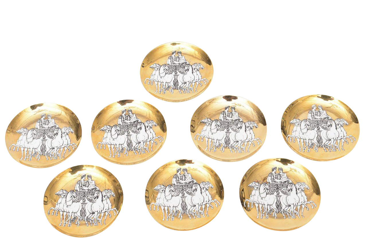 set of eight italian fornasetti gilded porcelain roman chariot coasters 1950s - vintage furniture - vintage decor - antique coasters - decaso