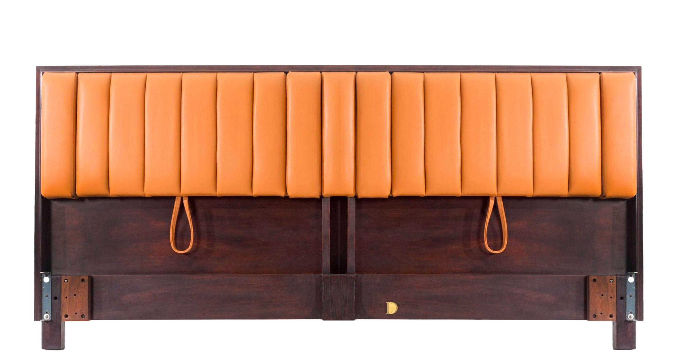 edward wormley king size headboard from decaso vintage furniture - vintage beds - modernist beds - modernist furniture - orange and wood headboard - headboards