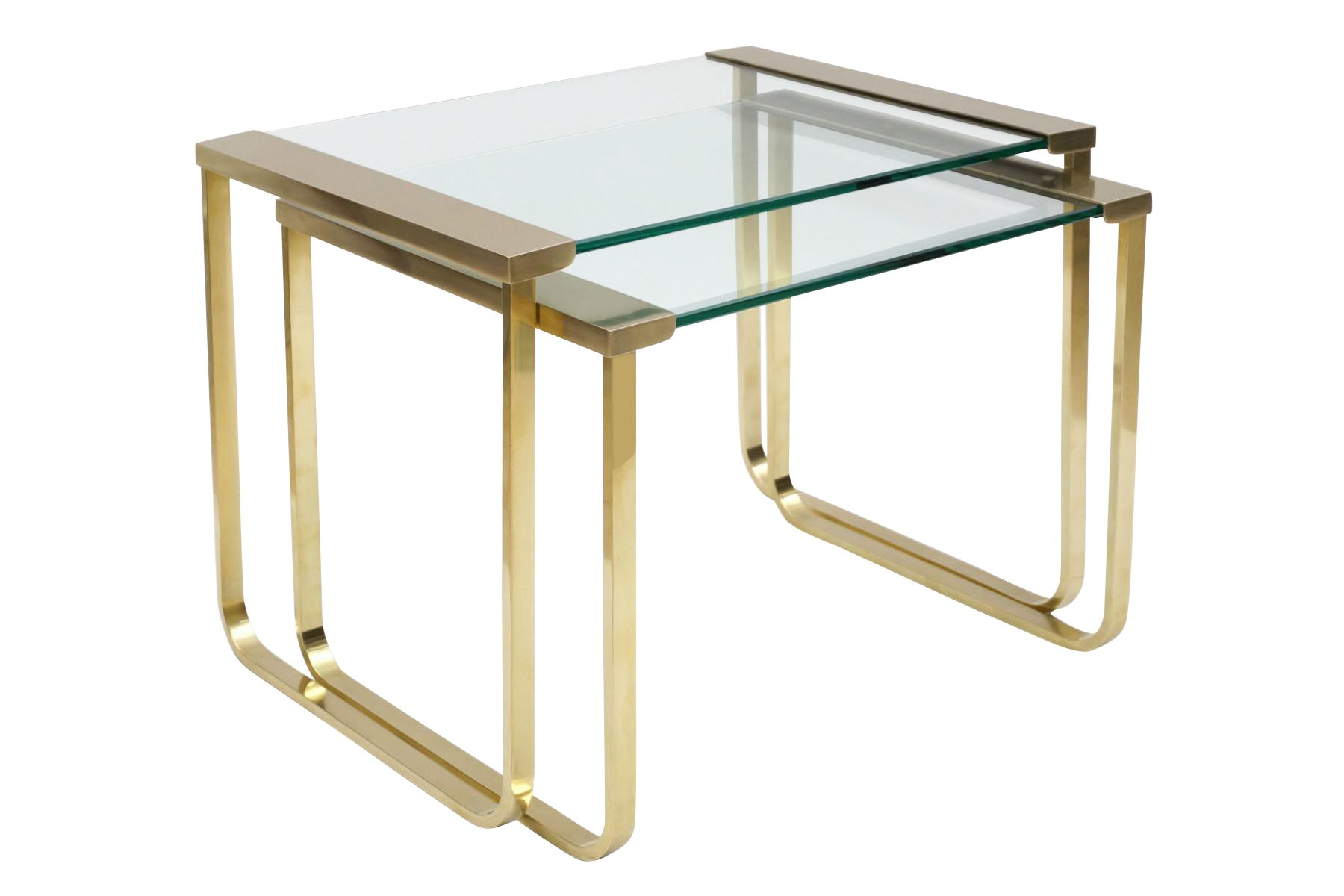 Italian Mid-century Brass and Glass Nesting Tables by Sergio Mazza for Cinova - vintage furniture - vintage tables - vintage side tables - antique tables - antique furniture - brass side tables - luxury furniture