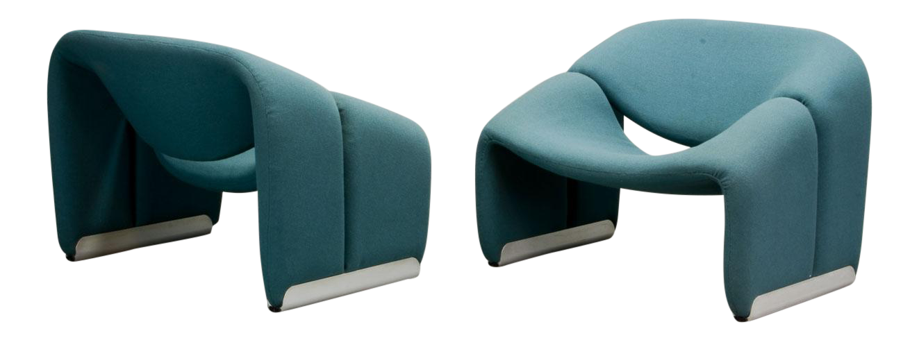 mid-century pair of blue dutch design m lounge chairs by pierre paulin for artifort 1970s from decaso vintage furniture - antique - antique furniture - antiques - vintage chairs - unique lounge chairs - vintage upholstery