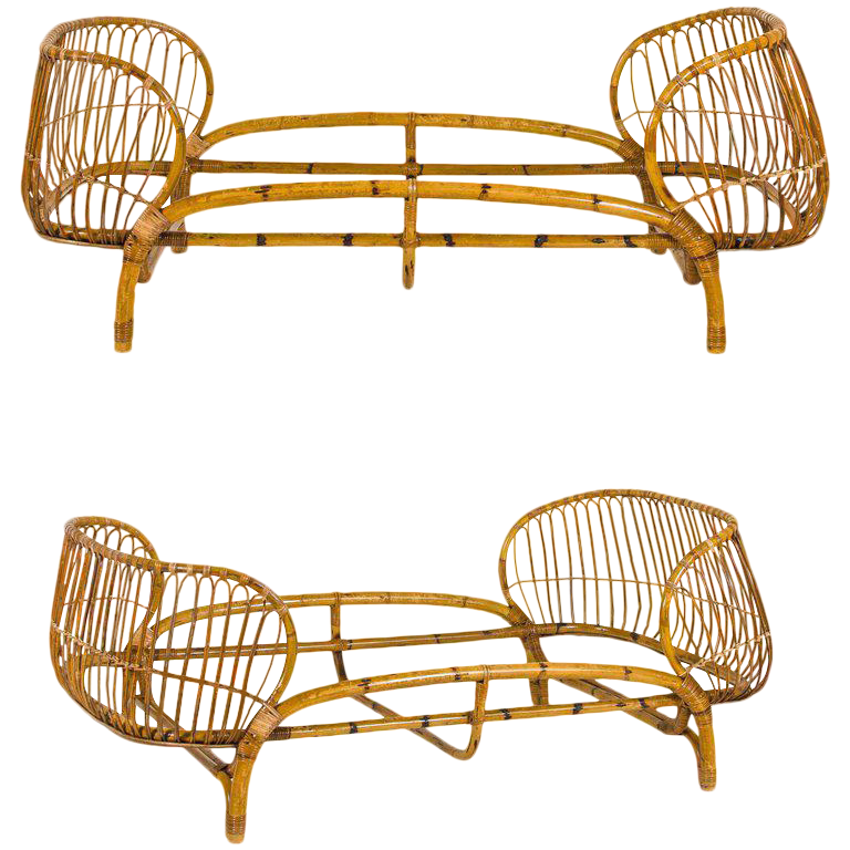 vittorio bonacina pair of beds bamboo circa 1950 italy from decaso vintage furniture - vintage beds - bamboo beds - antiques - antique beds - modernist furniture