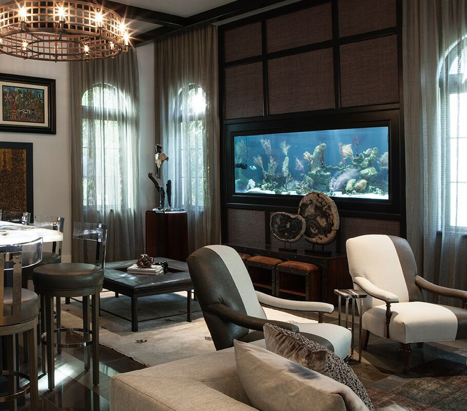 Top Miami Interior Designers - B Pila Design - Artistic Villa - Family Room Bar - home bar ideas - luxury bar stools - built-in fish tanks