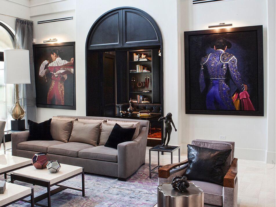 Top Miami Interior Designers - B Pila Design - Artistic Villa - Living Room - living room design ideas - luxury interiors - luxury furniture - fireplace design ideas - arched window drapery ideas - bea pila - top interior designers in florida - villa interior design