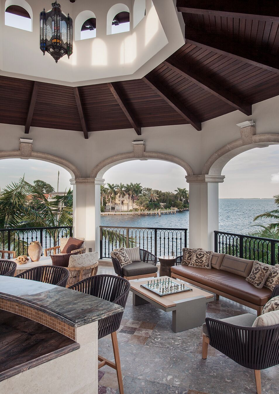 Top Miami Interior Designers - B Pila Design - Artistic Villa - Master Bedroom Outdoor Gazebo - master bedroom porches - luxury outdoor furniture