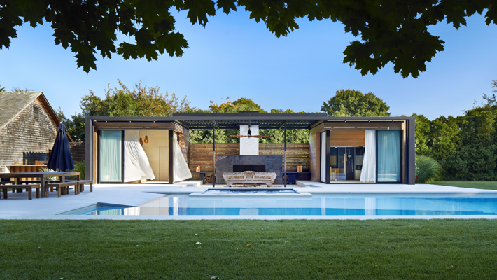 ICRAVE Creates a Lavish Pool House and Spa Retreat in Amagansett